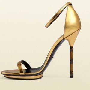 Gucci Metallic gold bamboo heels size 39.5